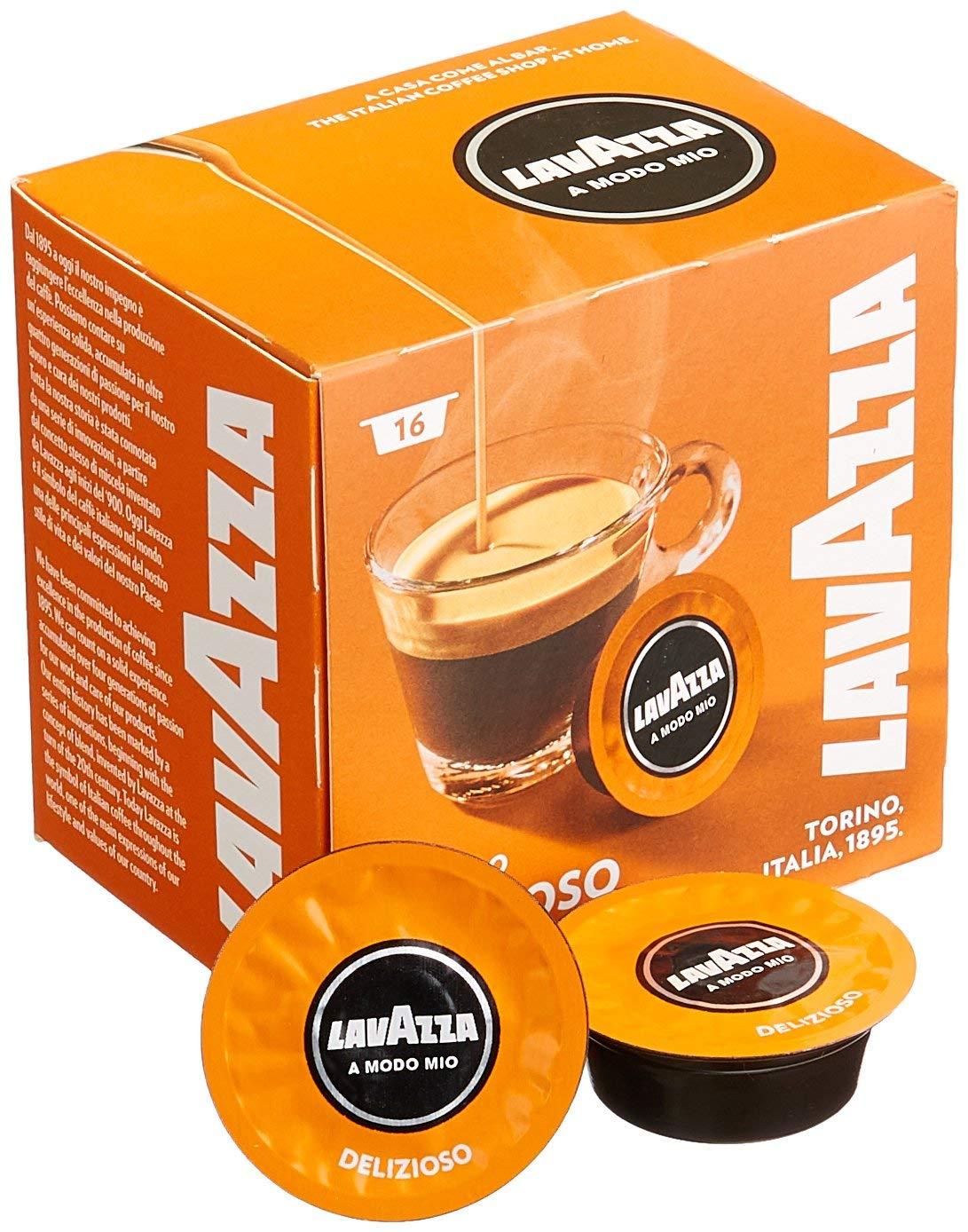 16 קפסולות קפה LAVAZZA A MODO MIO אורגינל תערובת DELIZIOSO- כתום