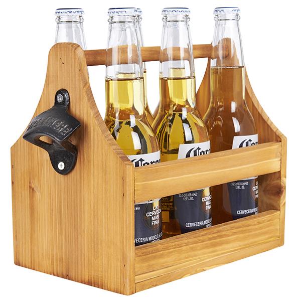 מנשא עץ לבקבוקי בירה