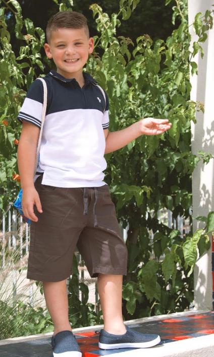 חולצת פולו שני צבעים בנים