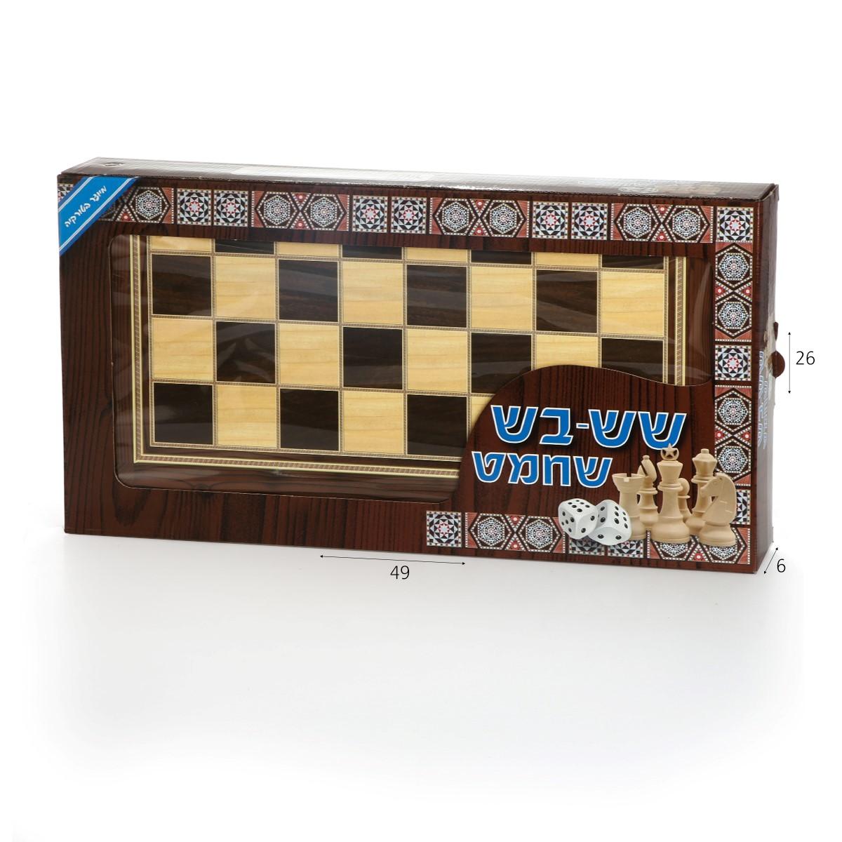 """שש-בש שחמט עץ 50*27*40 ס""""מ"""