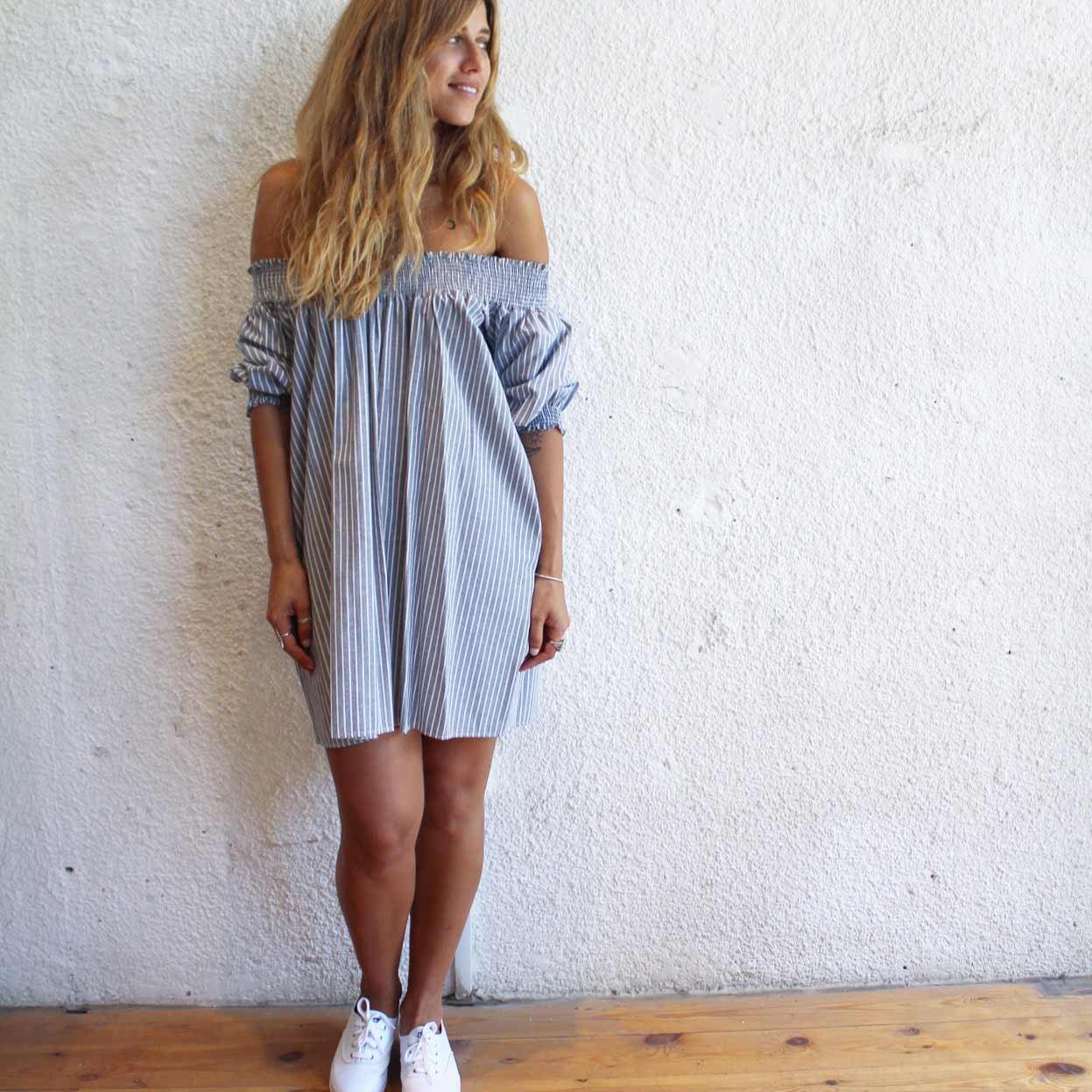 שמלה אלבינה פסים אפור