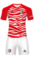 חליפת כדורגל אדום פסים