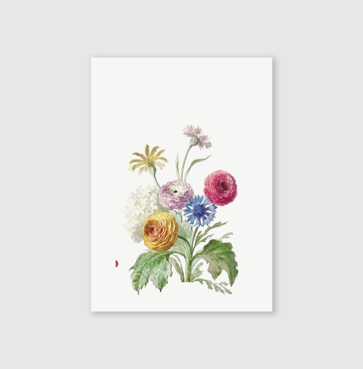 סט גלויות-- זר פרחים