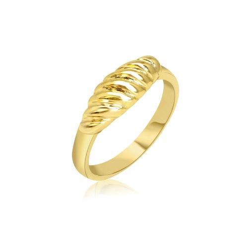 טבעת זהב חוליות דגם גלים