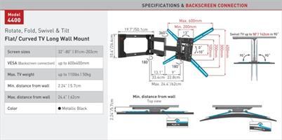 מתקן תליה לטלוויזיה זרועות ברקן 4400