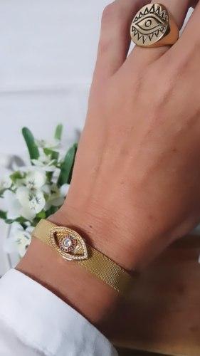 צמיד/שעון ג'ני עם עין משובצת צבעונית