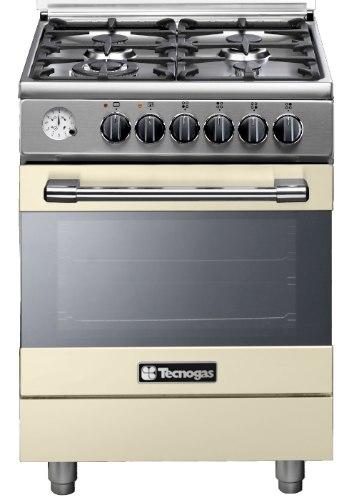 """תנור בישול ואפייה משולב גז 60 ס""""מ טכנוגז קרם TECNOGAS P2C66E4VC"""