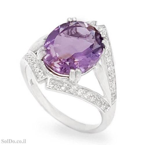 טבעת מכסף משובצת אבן אמטיסט ואבני זרקון RG6316   תכשיטי כסף 925   טבעות כסף