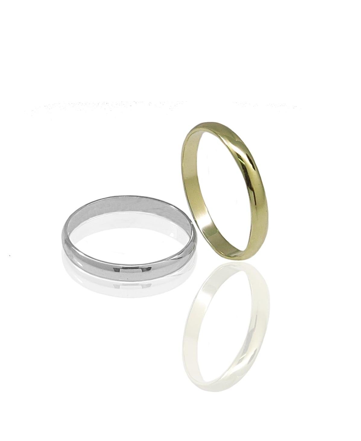 טבעת נישואין חלקה מעוגלת בזהב 14 קרט- דגם WR203