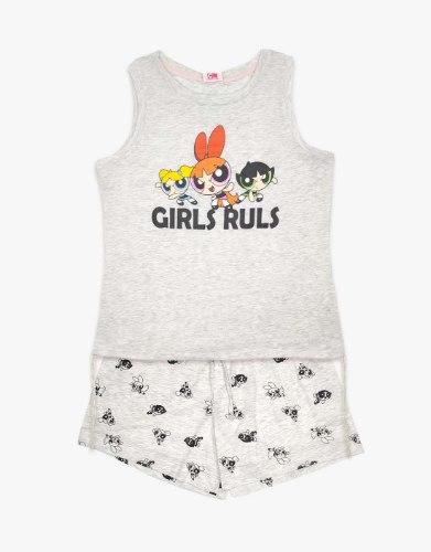 פיג'מה נשים Grey - GIRLS RULS
