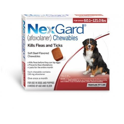 """NexGard חבילת 3 כדורים בטעם עוף נגד פרעושים וקרציות לכלבים במשקל 25-50 ק""""ג"""