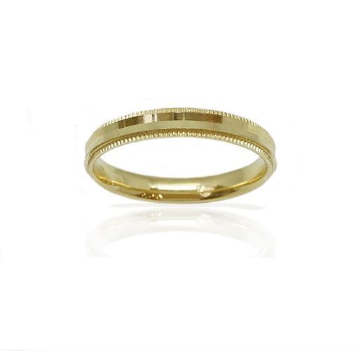 טבעת נישואין עדינה עם עיטורי מילגרין בצדדים  בזהב 14 קרט- דגם M216