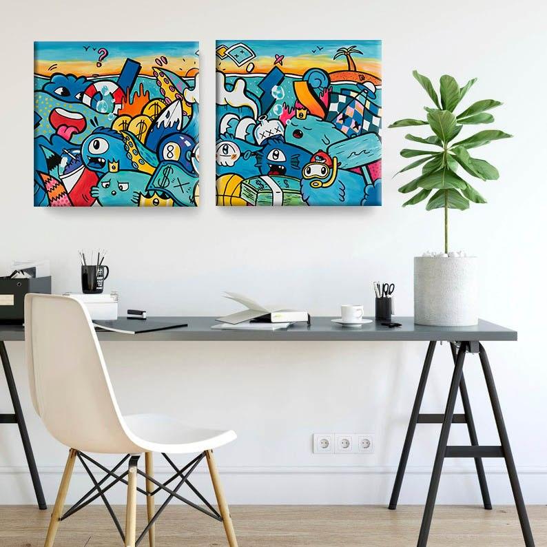 סט ציורי פופ ארט צבעוני למשרד של האמן כפיר תג'ר
