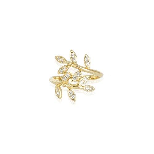 טבעת זהב עלים יפהפייה