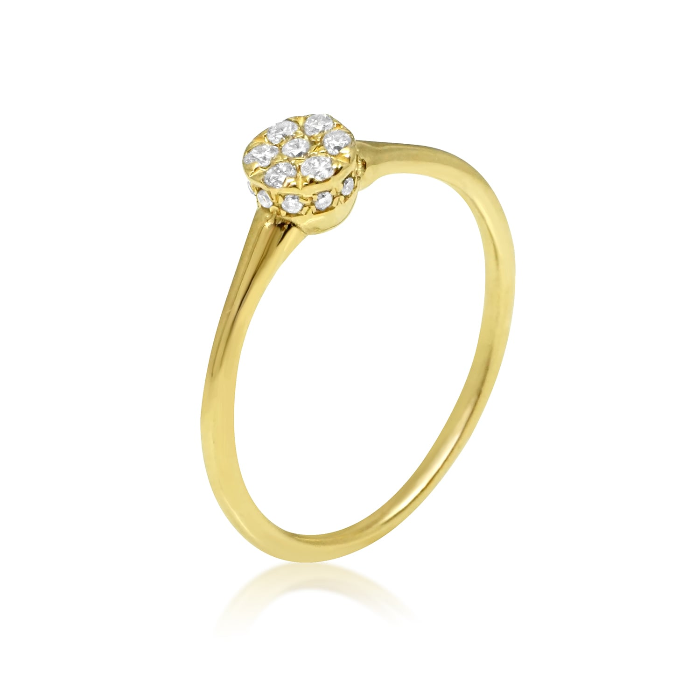 טבעת יהלומים עדינה מזהב 0.16 קראט