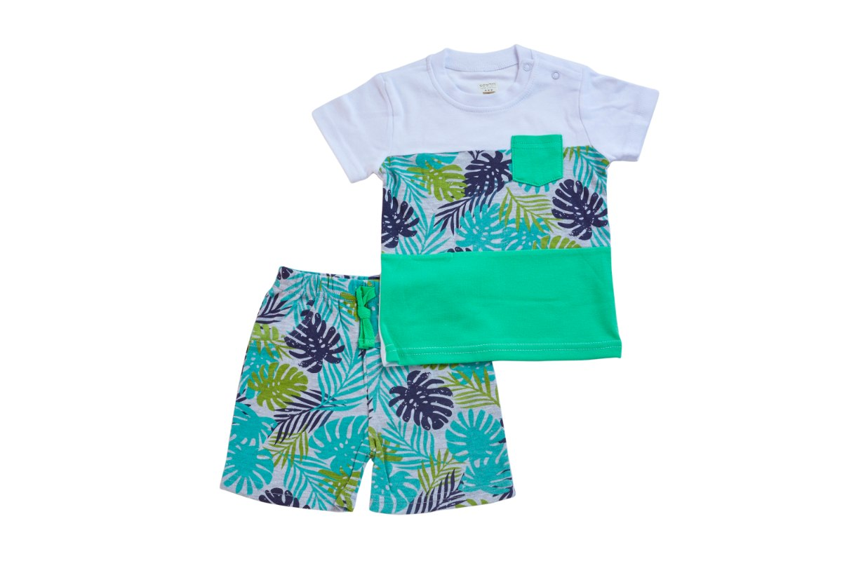 חליפה טרופית לבן+ירוק