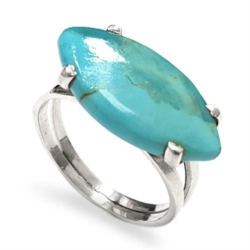 טבעת כסף משובצת אבן טורקיז  RG5931 | תכשיטי כסף 925 | טבעות כסף