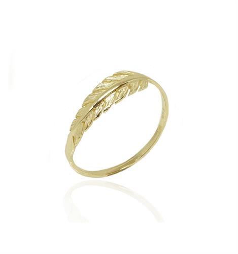 טבעת זהב נוצה טבעת זהב לזרת טבעת אופנתית
