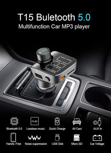 משדר FM-דגם t15 המקצועי לרכב עם בלוטוס+aux+דיבורית