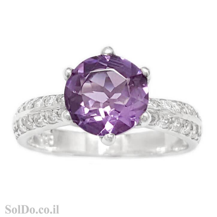 טבעת מכסף משובצת אבן אמטיסט וזרקונים RG6108   תכשיטי כסף 925   טבעות כסף