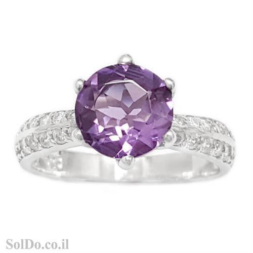 טבעת מכסף משובצת אבן אמטיסט וזרקונים RG6108 | תכשיטי כסף 925 | טבעות כסף