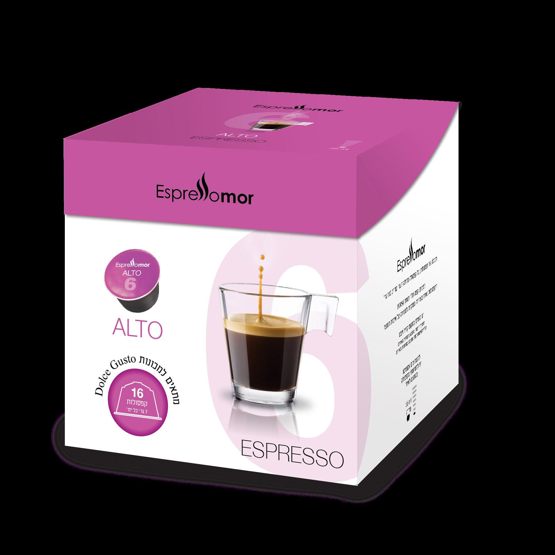 16 קפסולות תואמות דולצה גוסטו Espressomor Alto Dolce Gusto