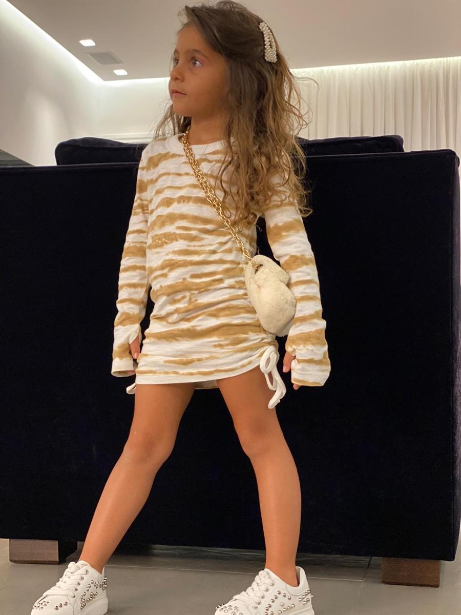 MISS KIDS שמלת כיווץ בז' מידות 2-16