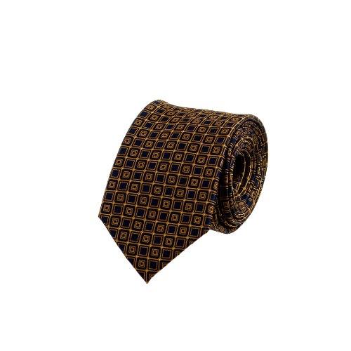 עניבה קלאסית כחול כהה עם משבצות כתומות