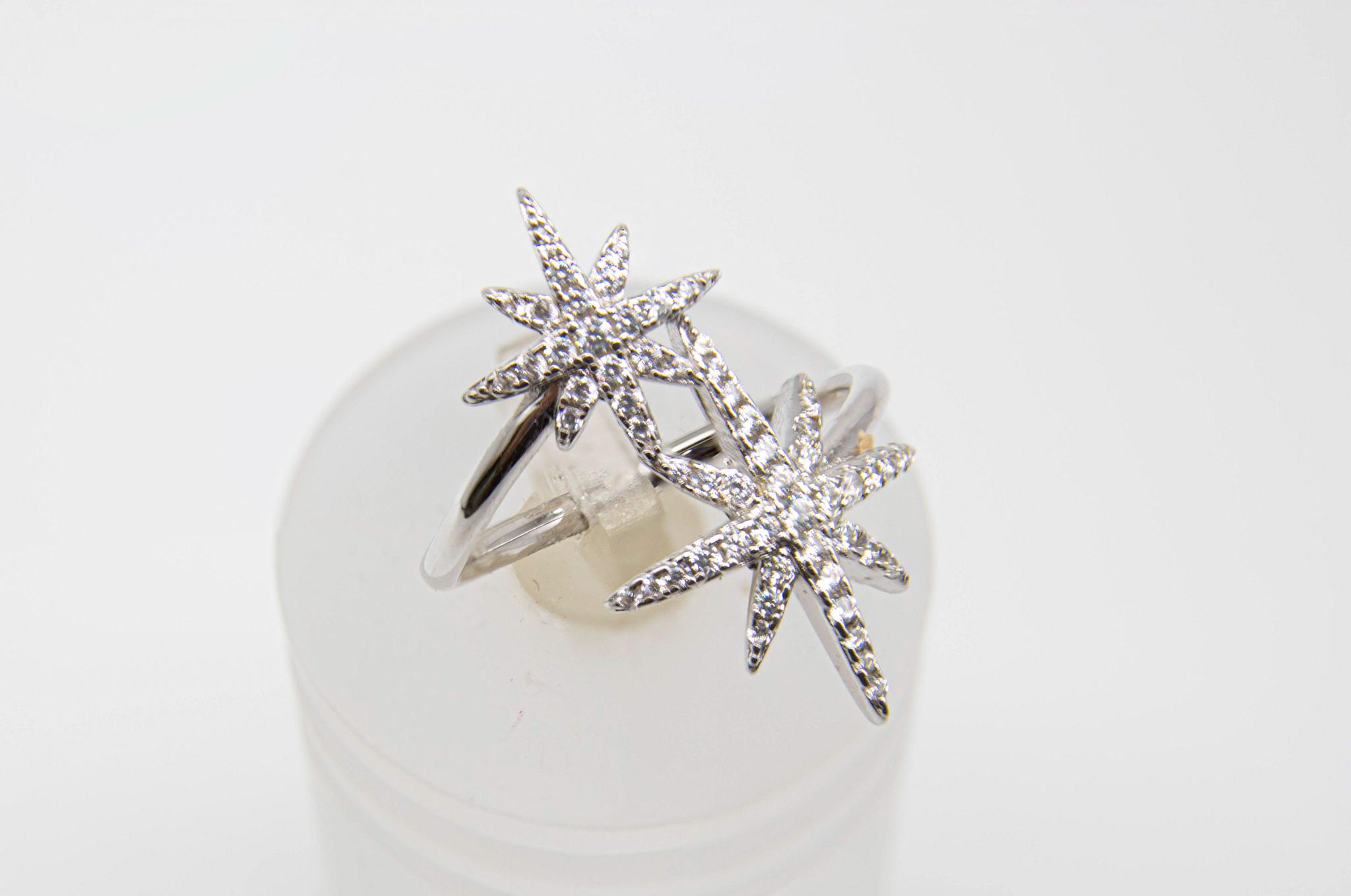 טבעת כפולה כוכבים משובצים