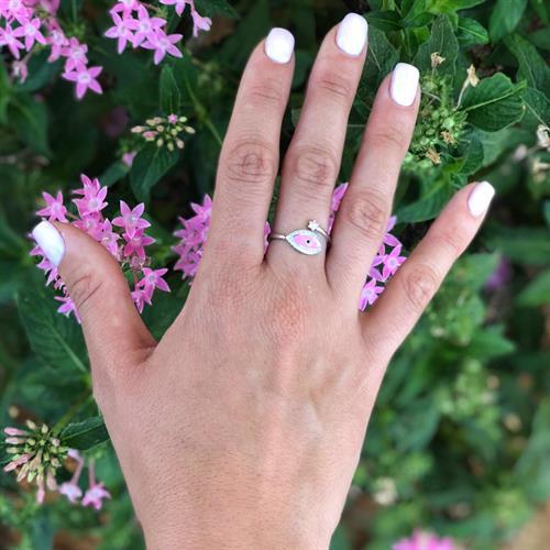 טבעת עין ורודה כסף 925 משובצת זרקון