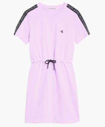 שמלה סגולה עם פס לוגו שחור CALVIN KLIEN - מידות 4-16
