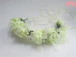 כתר פרחים לבנים - תכשיט שיער לכלה לבן