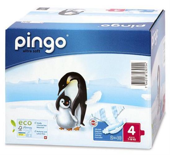פינגו חיתולים אקולוגיים שלב 4 7-18 קג 40 יחידות ללא כלורין בושם ו pvc