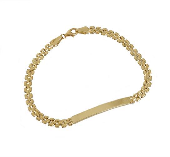 צמיד גורמט זהב לאישה עם פלטת חריטה