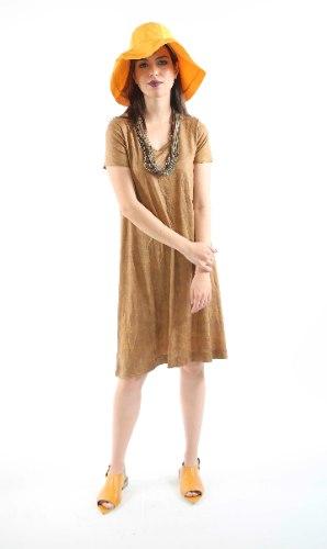 שמלת מנגו חרדל מוזהבת