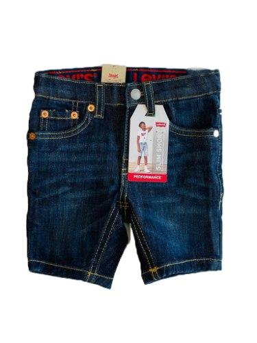 שורט ג'ינס בנים LEVIS SLIM כהה 2-16