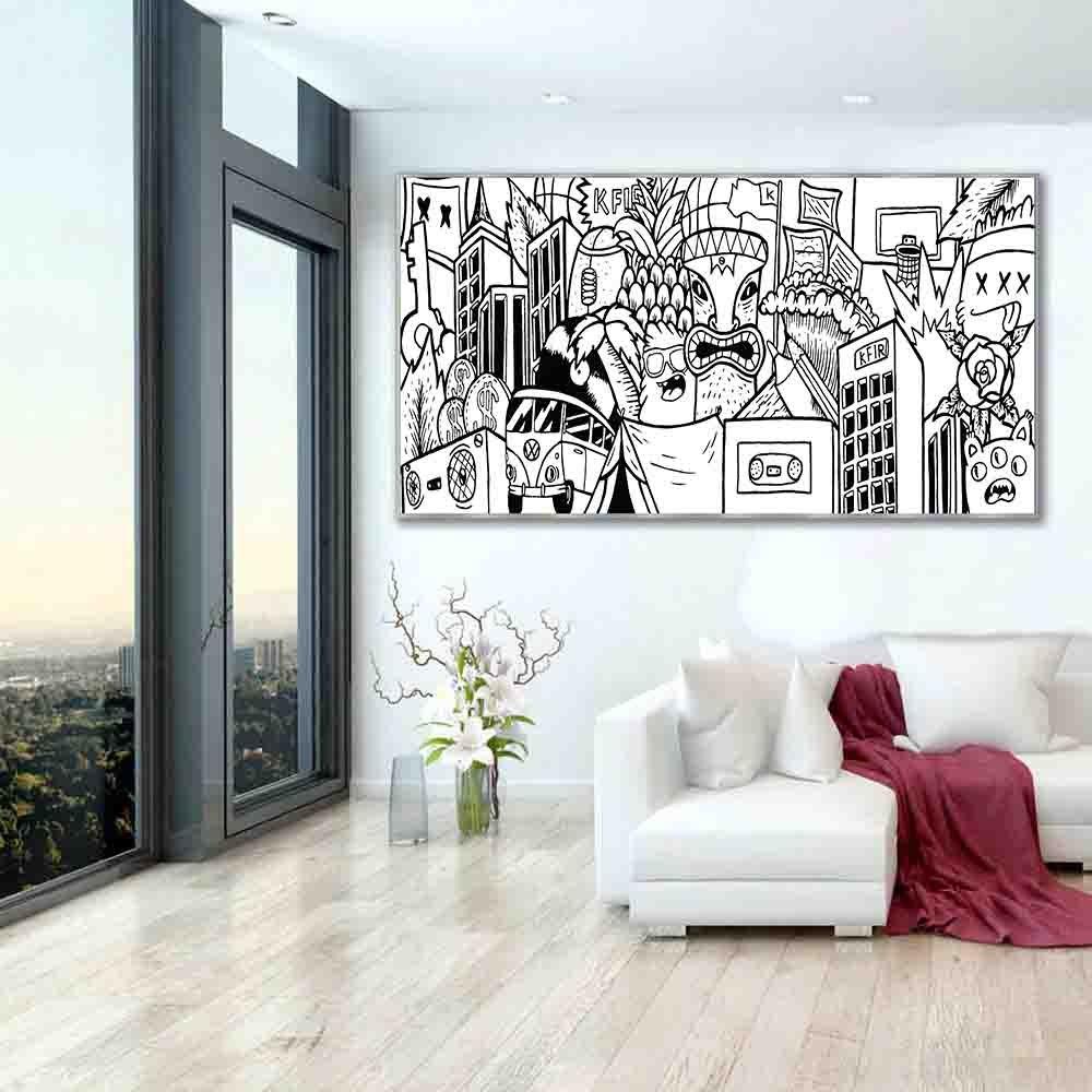 ציור פופ ארט שחור לבן למשרד של האמן כפיר תג'ר