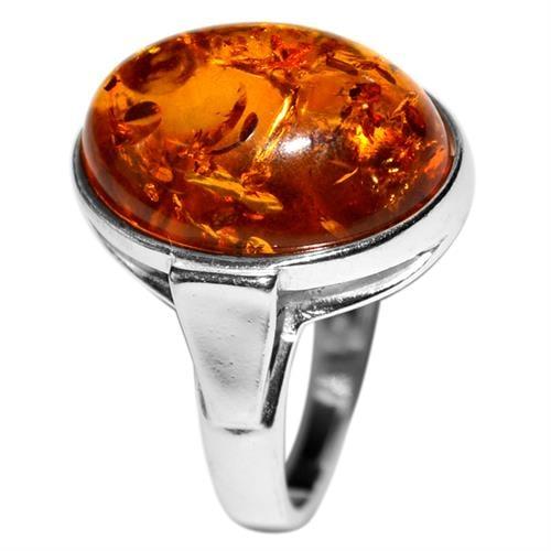 טבעת כסף משובצת ענבר RG7460