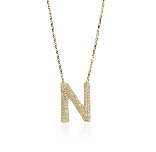 """שרשרת זהב אות עם זרקונים """"N"""""""