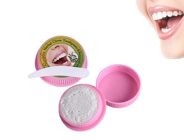 אבקה טבעית להלבנת השיניים