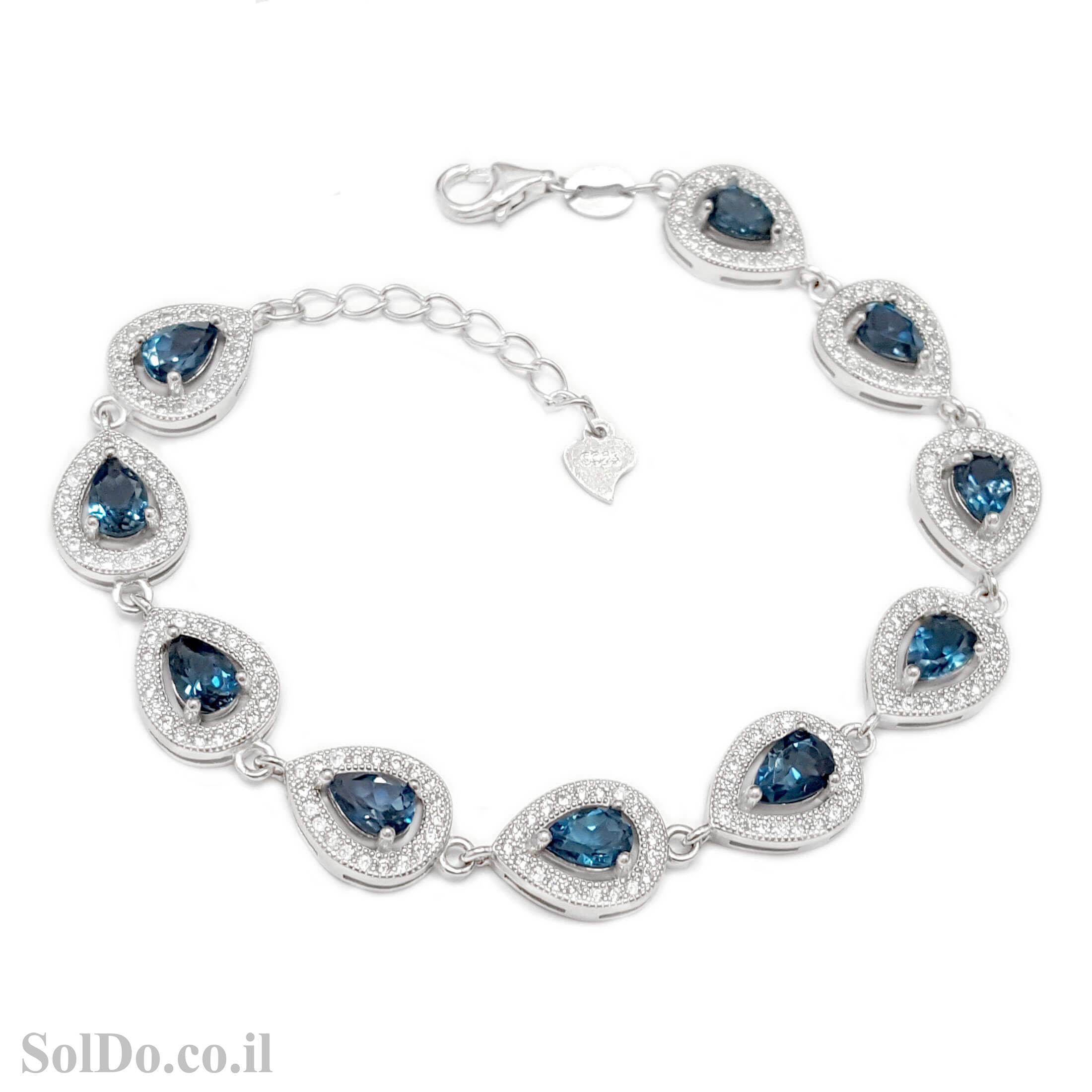 צמיד כסף משובץ אבני טופז כחולות ואבני זרקון  Z3101