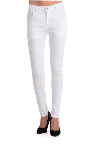 מכנס כותנה בצבע לבן