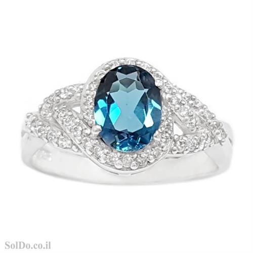 טבעת מכסף משובצת אבן טופז כחולה  וזרקונים RG8793 | תכשיטי כסף 925 | טבעות כסף