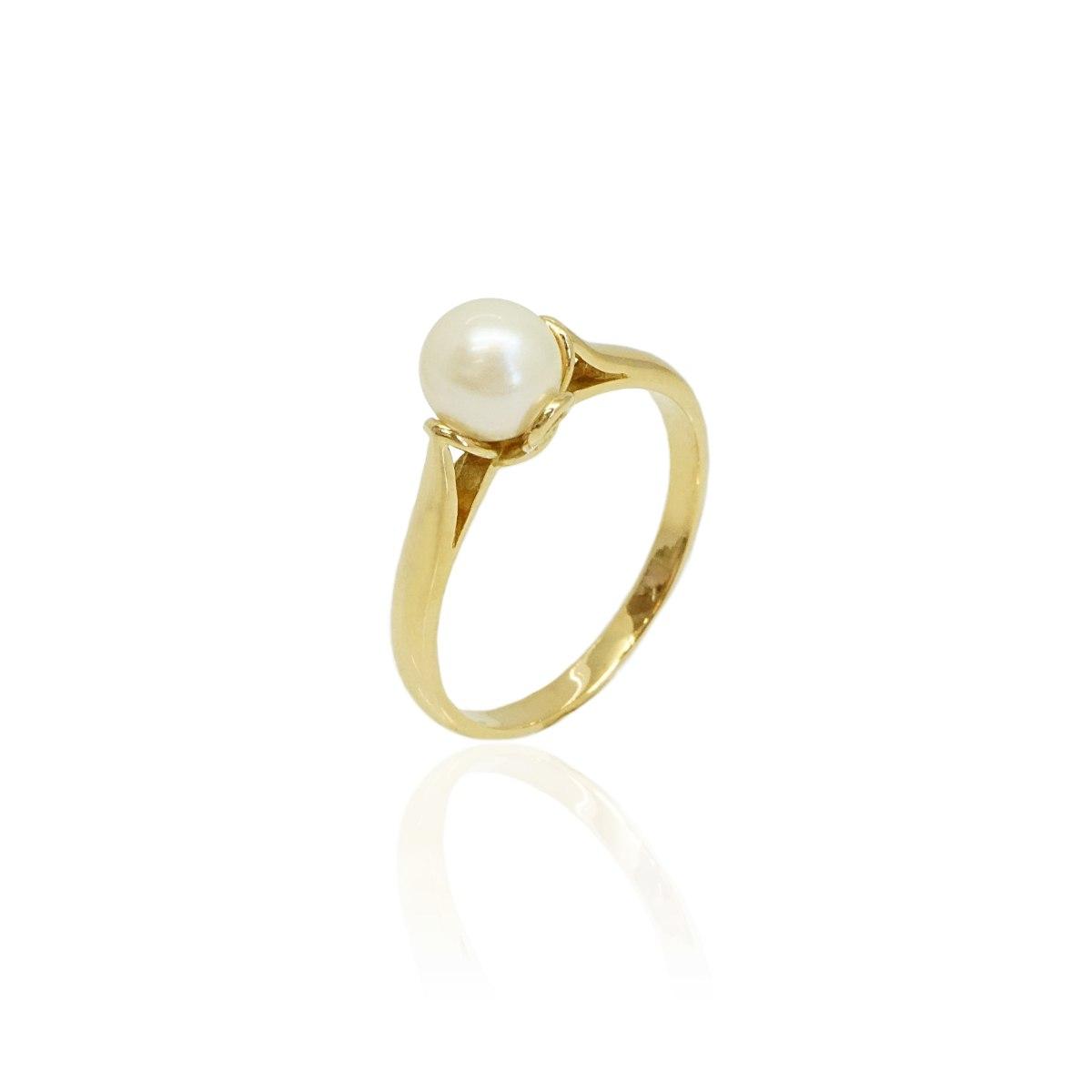טבעת פנינה בסגנון וינטאג' בזהב