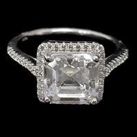 טבעת מכסף משובצת זרקון מרובע וזרקונים RG5530 | תכשיטי כסף | תכשיטים לחתונה