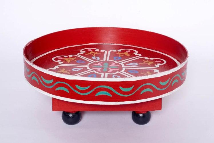 שולחן מגש אדום