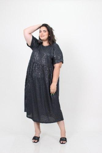 שמלת בריטני טריקו אפור מנצנץ