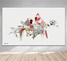 תמונה של ציפורים בצבע אדום