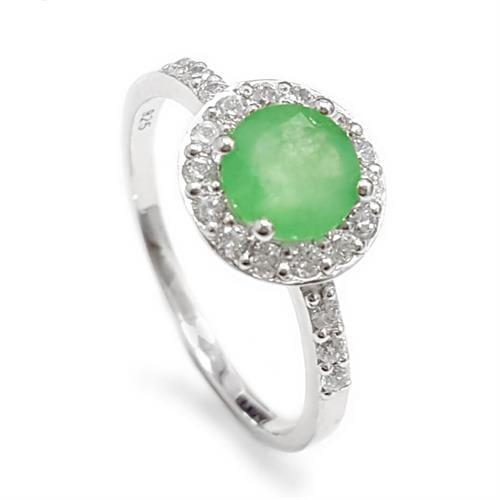 טבעת כסף משובצת אבן אגת צבע ירוק וזרקונים RG1562 | תכשיטי כסף 925 | טבעות כסף