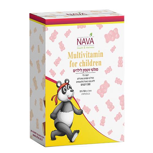 מולטי ויטמין לילדים - בטעם פירות, 300 דובונים, נאוה